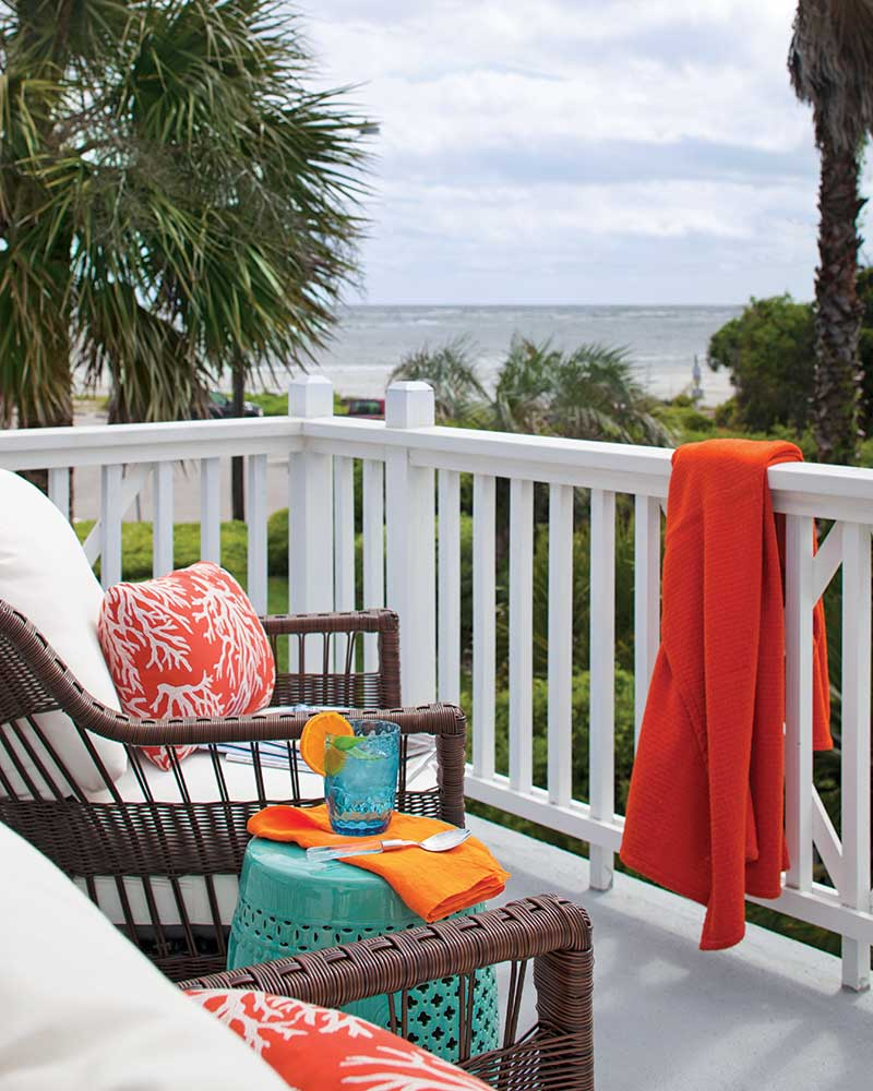 beach cottage patio with ocean views