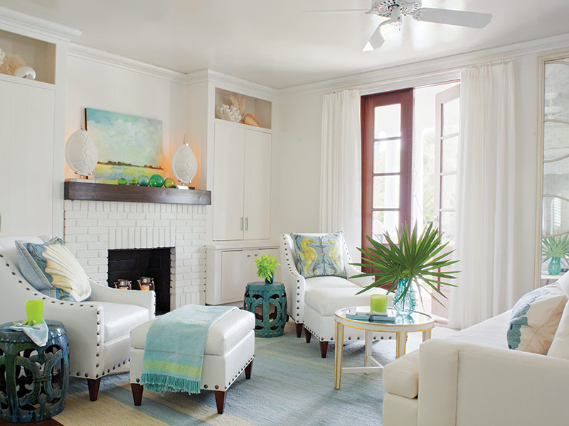 bright beach cottage living room