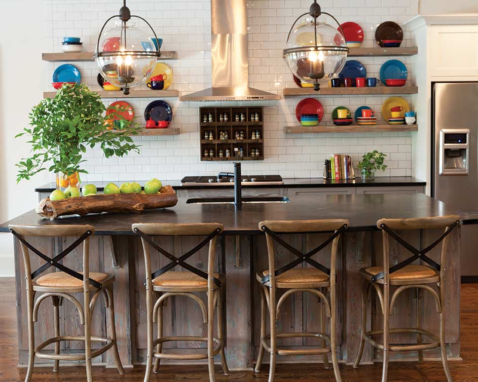 colorful farmhouse kitchen